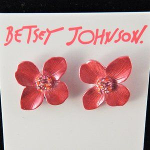 Betsey Johnson Opulent Floral Flower Stud Earrings